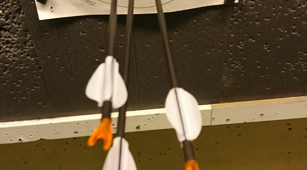 3 arrows on target , one shot in the backend
