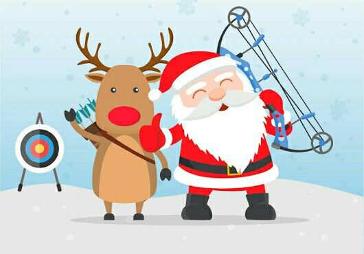 Reindeer and Santa with a bow